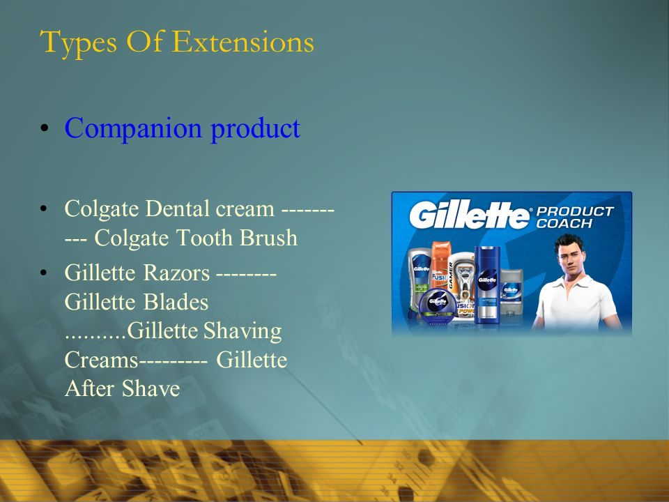 Types Of Extensions Companion product Colgate Dental cream ------- --- Colgate Tooth Brush Gillette Razors -------- Gillette Blades..........Gillette