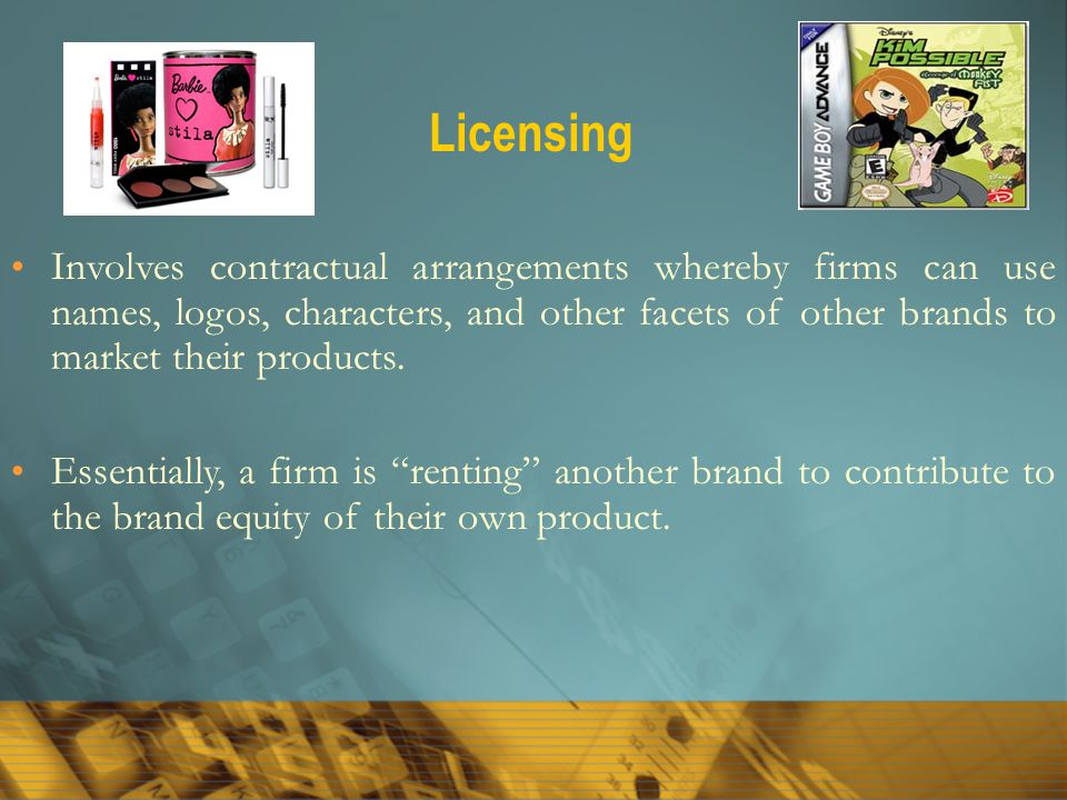 Licensing Involves contractual arrangements whereby firms can use names, logos, characters, and other facets of other brands to market their products.