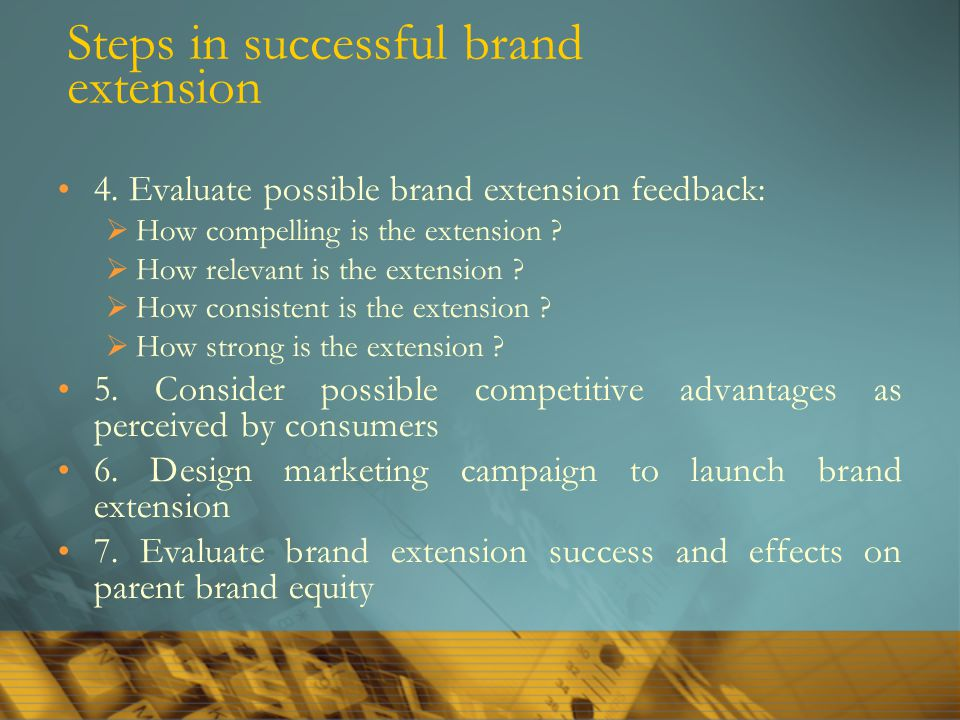 Steps in successful brand extension 4. Evaluate possible brand extension feedback:  How compelling is the extension ?  How relevant is the extension