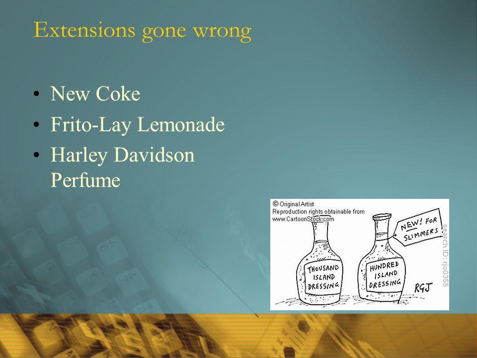 Extensions gone wrong New Coke Frito-Lay Lemonade Harley Davidson Perfume