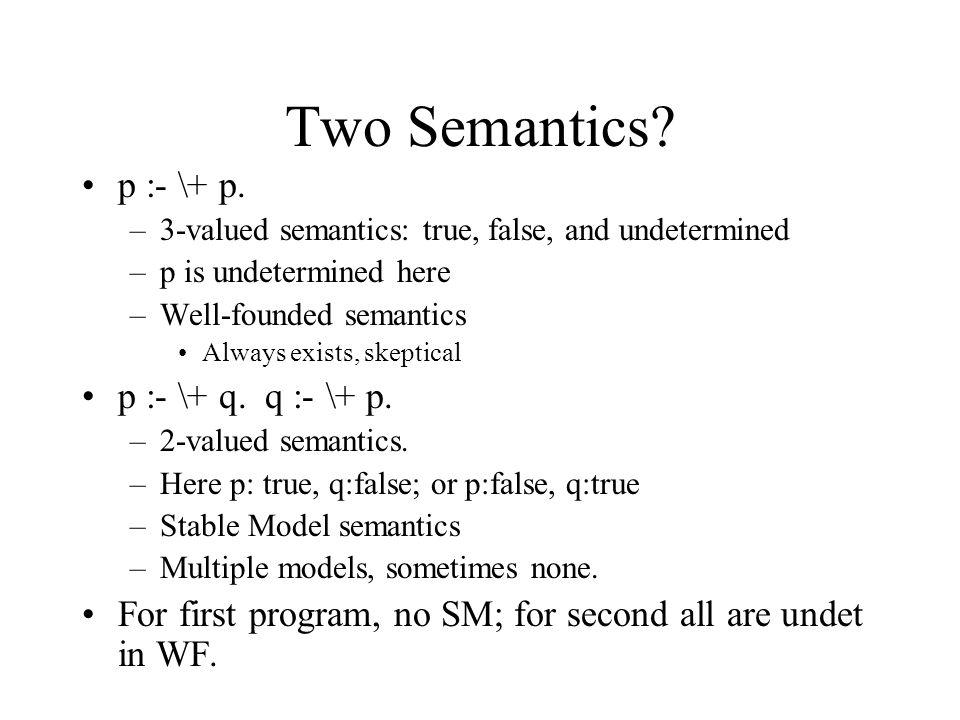 Two Semantics. p :- \+ p.