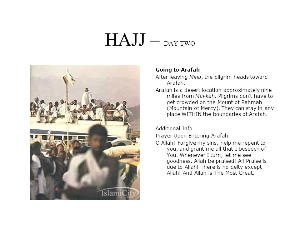 HAJJ – DAY TWO Going to Arafah After leaving Mina, the pilgrim heads toward Arafah.