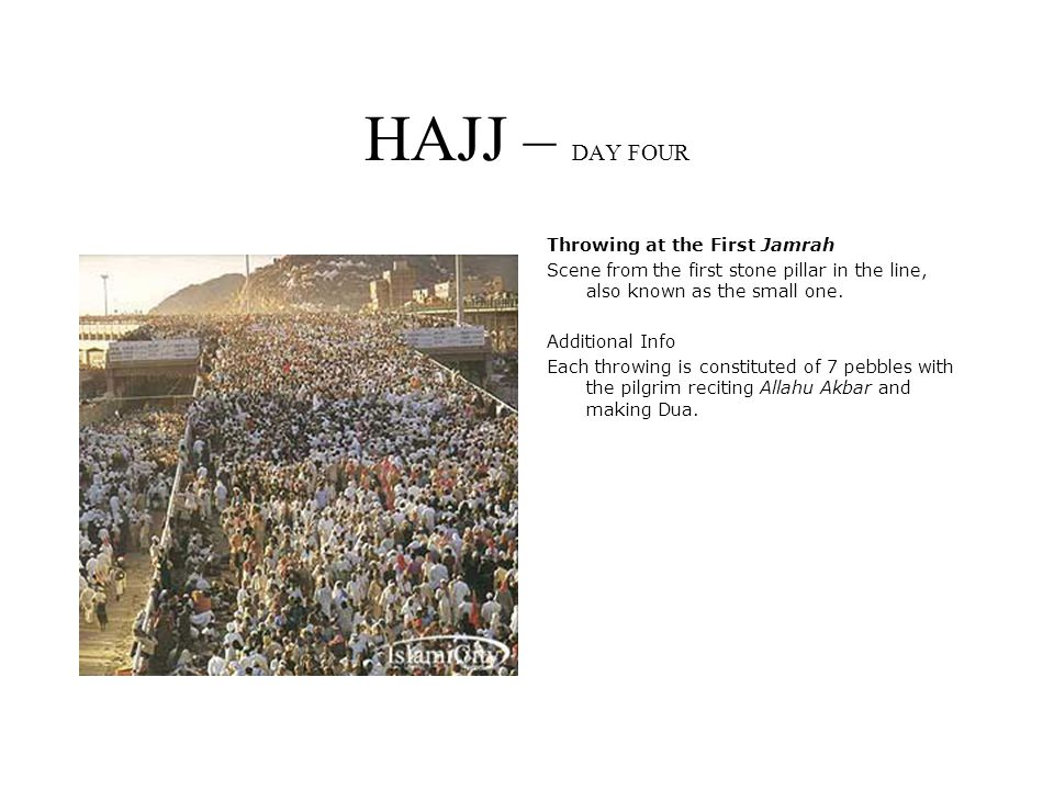 HAJJ – DAY FOUR Throwing at the First Jamrah Scene from the first stone pillar in the line, also known as the small one.