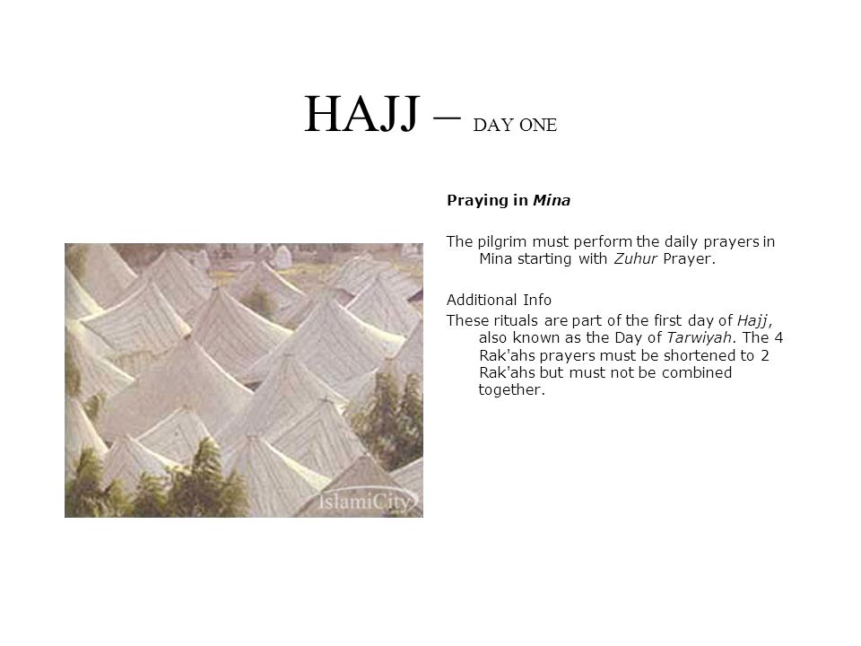 HAJJ – DAY ONE Praying in Mina The pilgrim must perform the daily prayers in Mina starting with Zuhur Prayer.