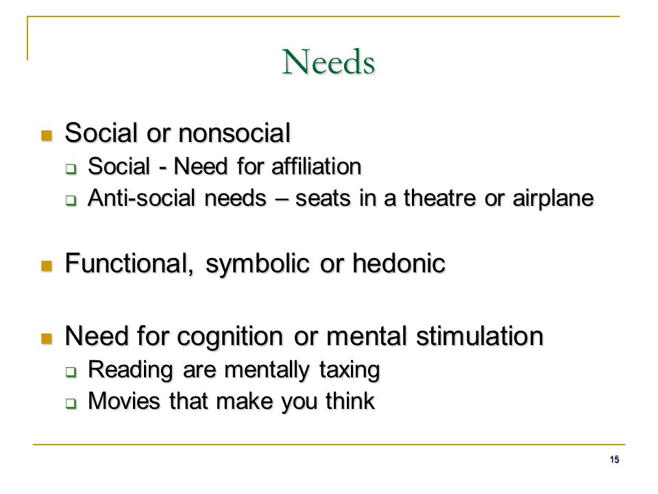 15 Needs Social or nonsocial Social or nonsocial  Social - Need for affiliation  Anti-social needs – seats in a theatre or airplane Functional, symb