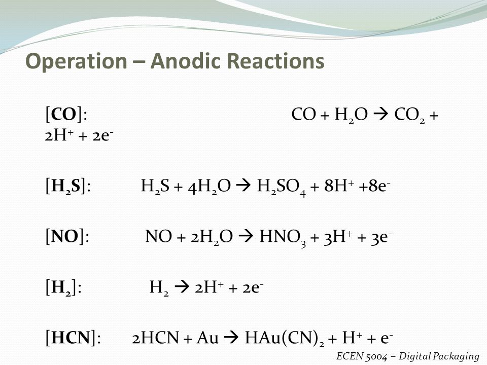 Operation – Anodic Reactions ECEN 5004 – Digital Packaging [CO]: CO + H 2 O  CO 2 + 2H + + 2e - [H 2 S]: H 2 S + 4H 2 O  H 2 SO 4 + 8H + +8e - [NO]: NO + 2H 2 O  HNO 3 + 3H + + 3e - [H 2 ]: H 2  2H + + 2e - [HCN]: 2HCN + Au  HAu(CN) 2 + H + + e -