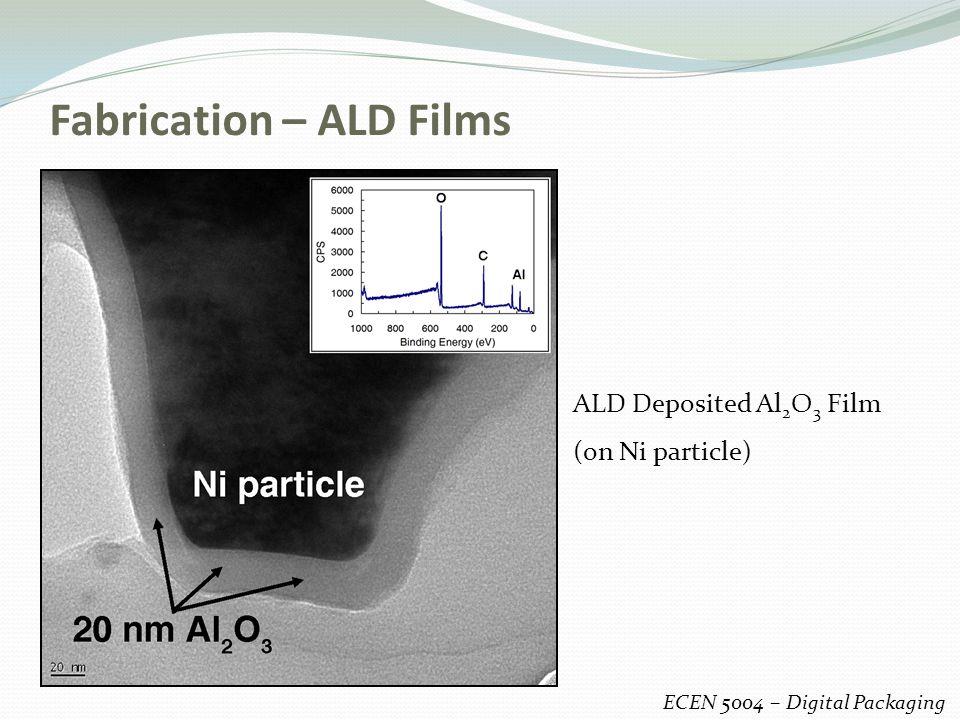 Fabrication – ALD Films ECEN 5004 – Digital Packaging ALD Deposited Al 2 O 3 Film (on Ni particle)