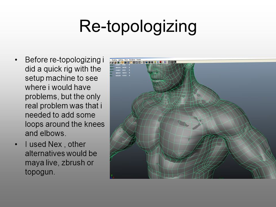 Re-topologizing In zbrush i imported the new mesh and subdivided it to the same level as the basesculpt, then added it as a subtool and projected the detail on to the new mesh