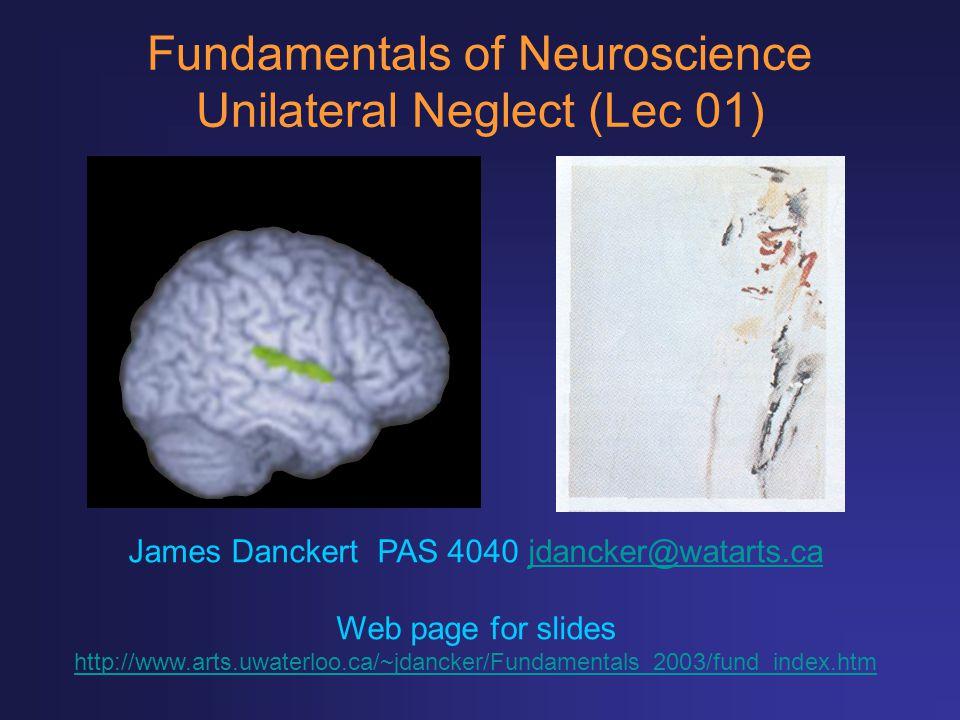 Fundamentals of Neuroscience Unilateral Neglect (Lec 01) James Danckert PAS 4040 jdancker@watarts.cajdancker@watarts.ca Web page for slides http://www