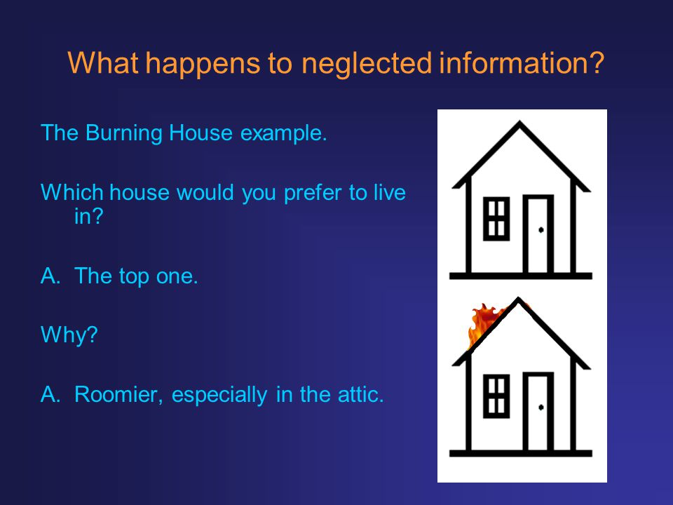 What happens to neglected information? The Burning House example. Which house would you prefer to live in? A.The top one. Why? A.Roomier, especially i