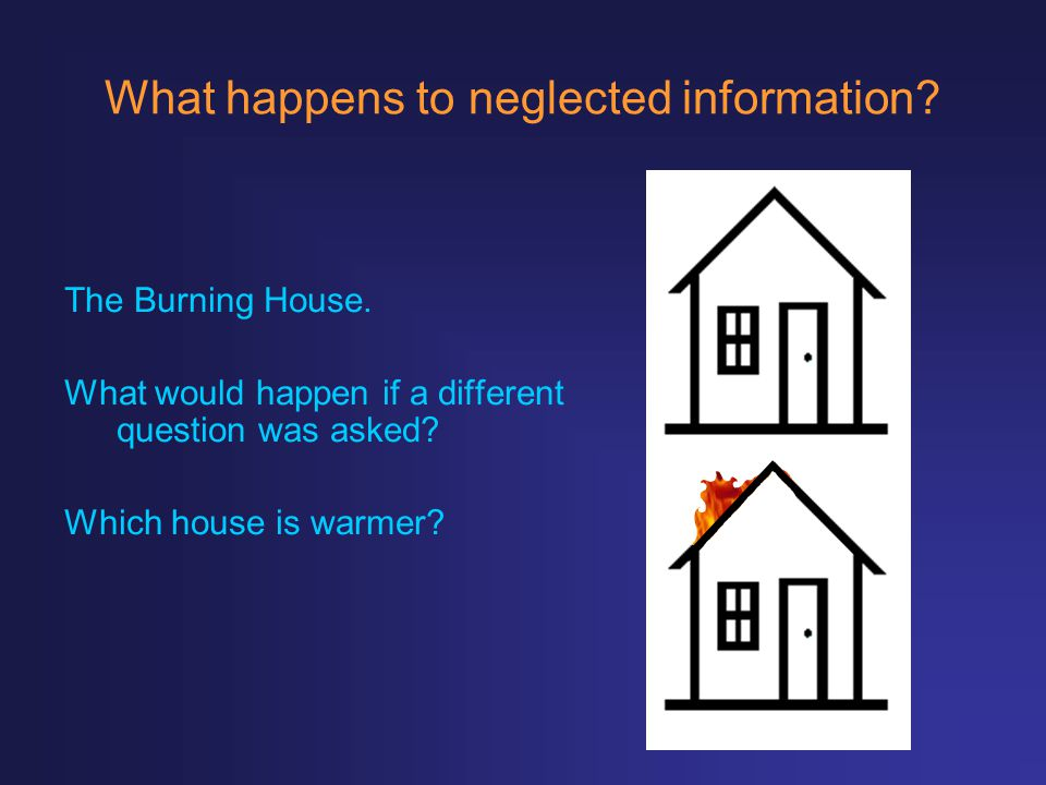 What happens to neglected information? The Burning House. What would happen if a different question was asked? Which house is warmer?