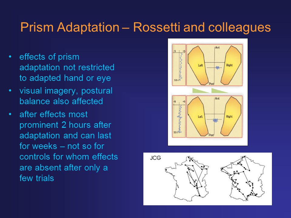 Prism Adaptation – Rossetti and colleagues effects of prism adaptation not restricted to adapted hand or eye visual imagery, postural balance also aff