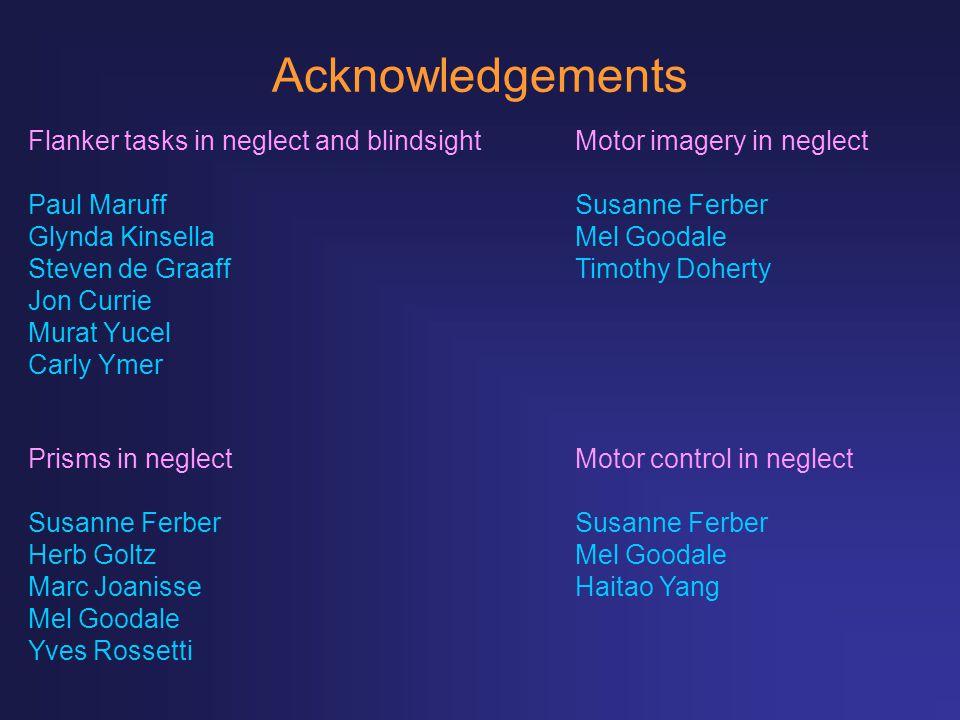 Acknowledgements Flanker tasks in neglect and blindsight Paul Maruff Glynda Kinsella Steven de Graaff Jon Currie Murat Yucel Carly Ymer Motor imagery