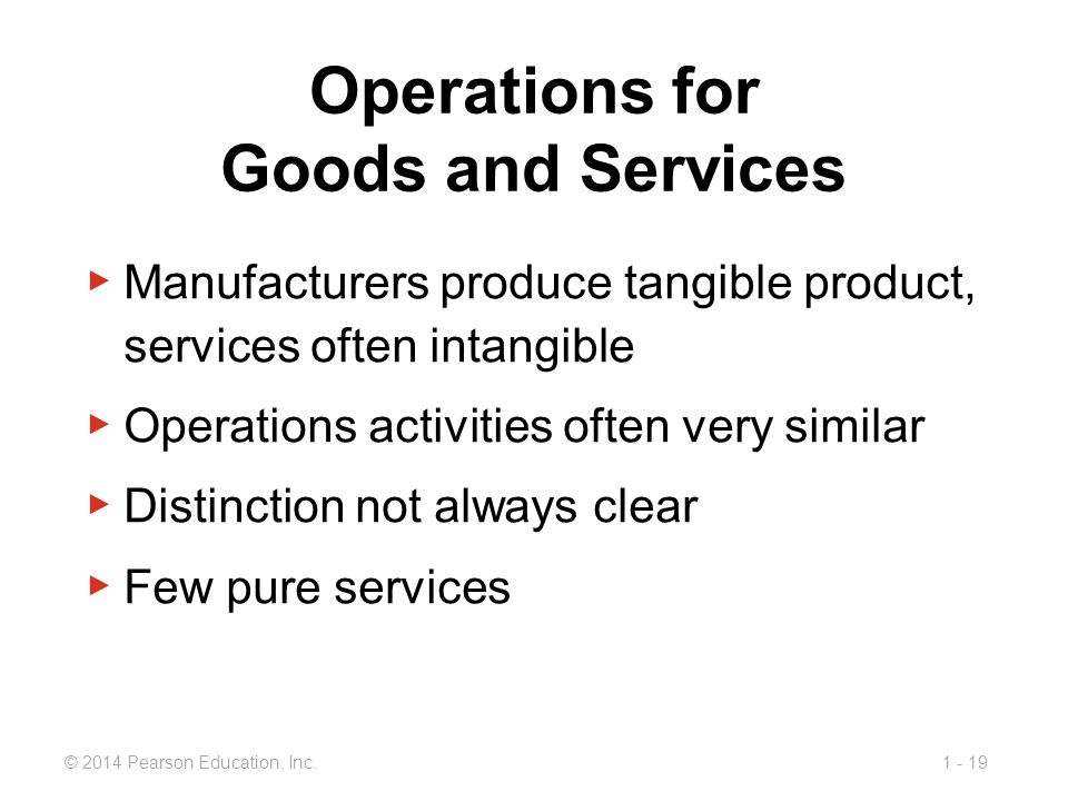 1 - 19© 2014 Pearson Education, Inc. Operations for Goods and Services ▶ Manufacturers produce tangible product, services often intangible ▶ Operation