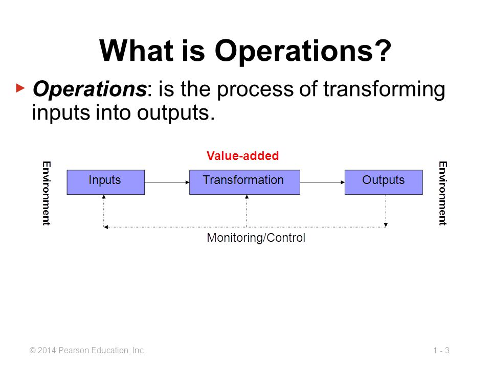 1 - 3© 2014 Pearson Education, Inc. ▶ Operations: is the process of transforming inputs into outputs. What is Operations?