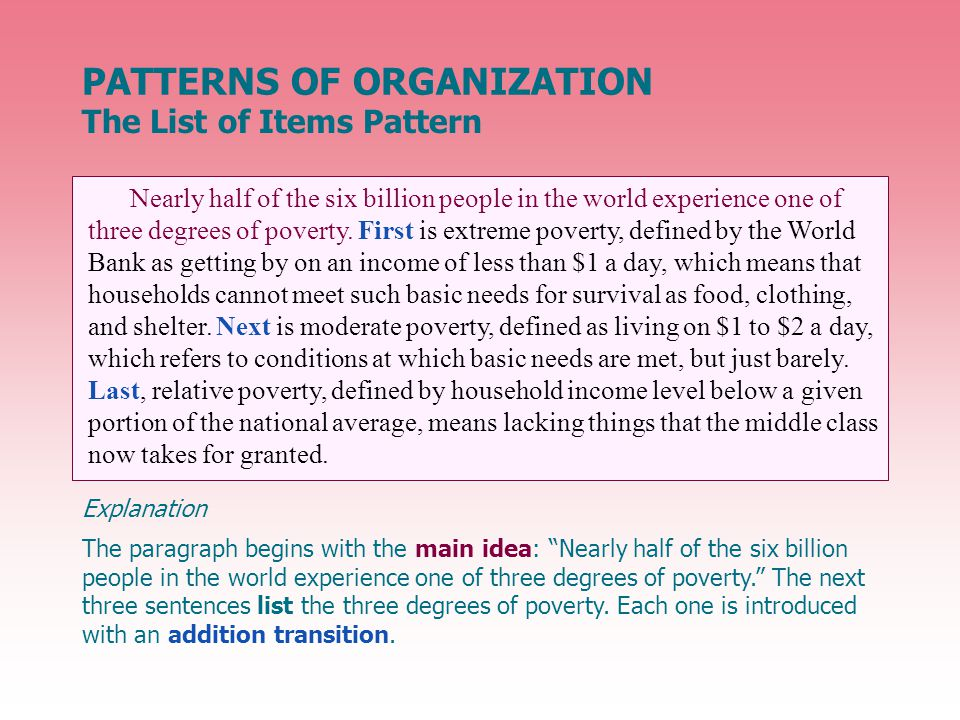 The paragraph begins with the main idea: Nearly half of the six billion people in the world experience one of three degrees of poverty. The next three sentences list the three degrees of poverty.