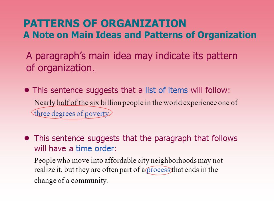 A paragraph's main idea may indicate its pattern of organization.