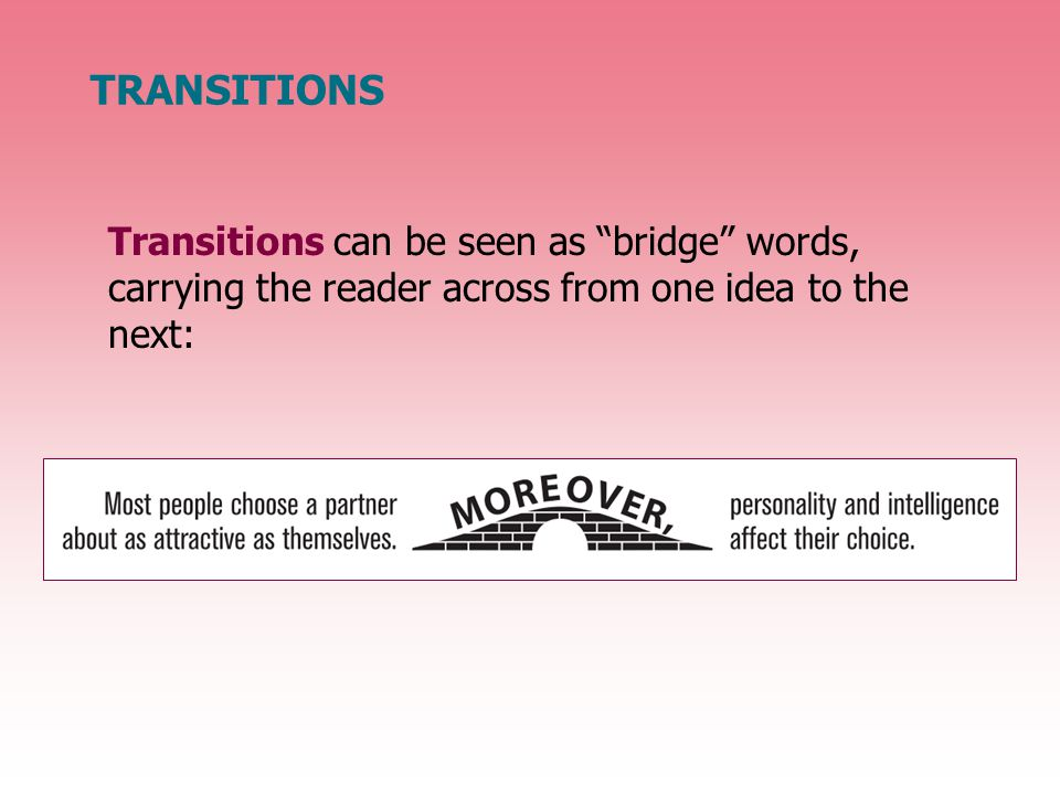 TRANSITIONS Two major types of transitions are words that show addition and words that show time.