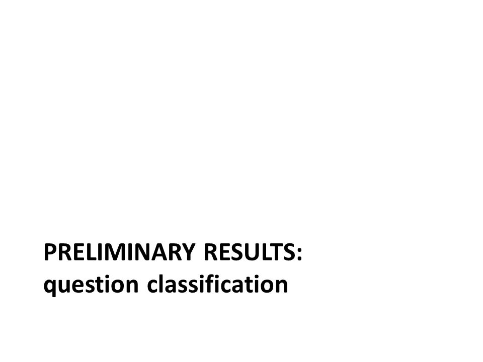PRELIMINARY RESULTS: question classification