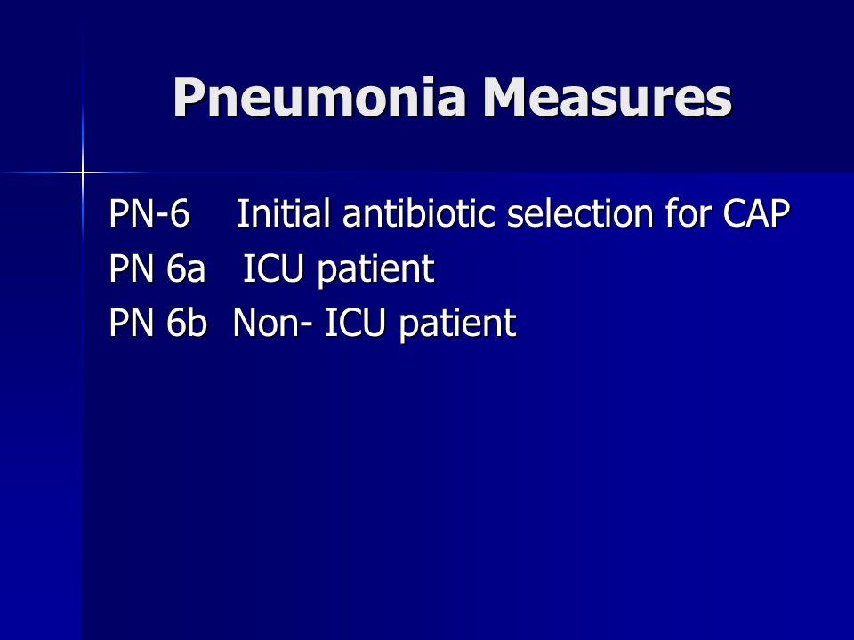 Pneumonia Measures PN-6 Initial antibiotic selection for CAP PN 6a ICU patient PN 6b Non- ICU patient