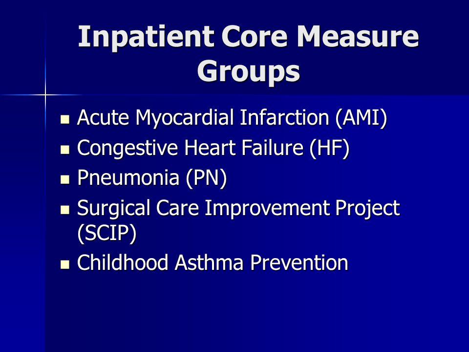 Inpatient Core Measure Groups Acute Myocardial Infarction (AMI) Acute Myocardial Infarction (AMI) Congestive Heart Failure (HF) Congestive Heart Failure (HF) Pneumonia (PN) Pneumonia (PN) Surgical Care Improvement Project (SCIP) Surgical Care Improvement Project (SCIP) Childhood Asthma Prevention Childhood Asthma Prevention