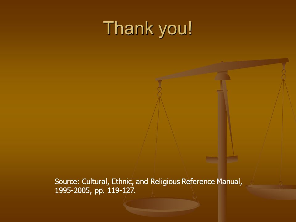 Thank you! Source: Cultural, Ethnic, and Religious Reference Manual, 1995-2005, pp. 119-127.