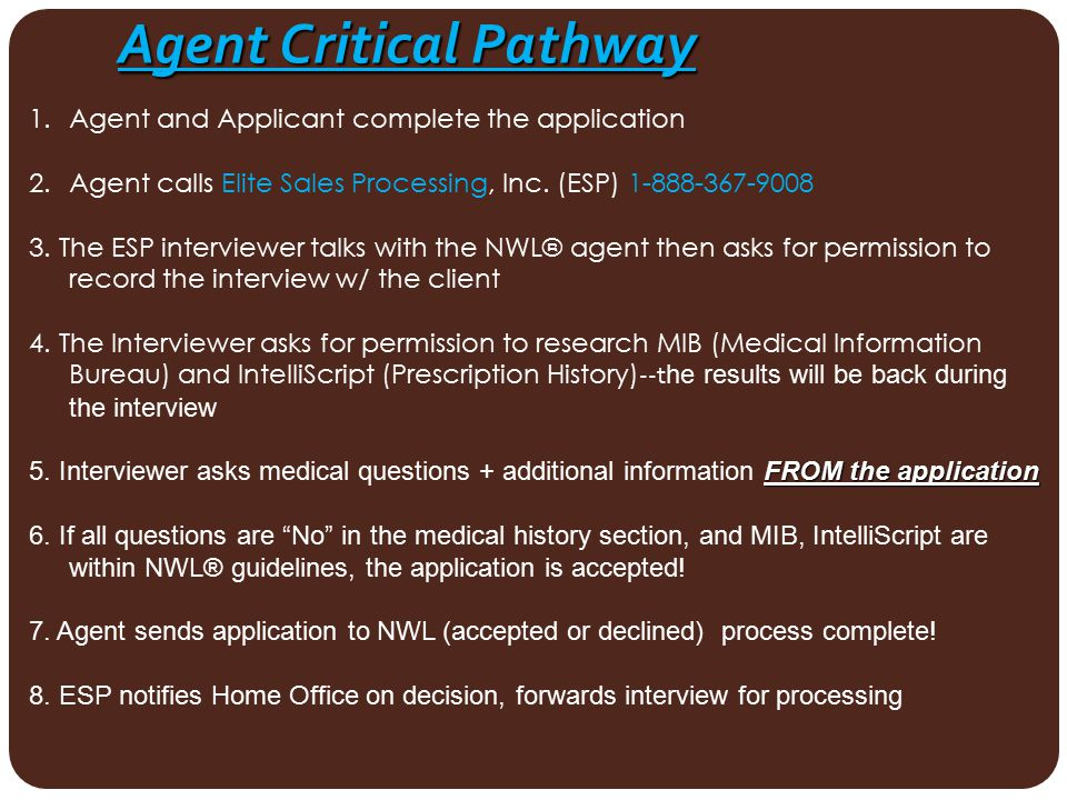 Agent Critical Pathway 1.Agent and Applicant complete the application 2.Agent calls Elite Sales Processing, Inc. (ESP) 1-888-367-9008 3. The ESP inter