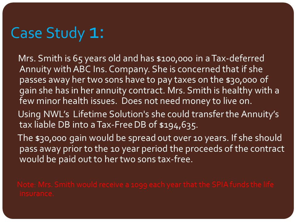 Case Study 1: Mrs. Smith is 65 years old and has $100,000 in a Tax-deferred Annuity with ABC Ins. Company. She is concerned that if she passes away he