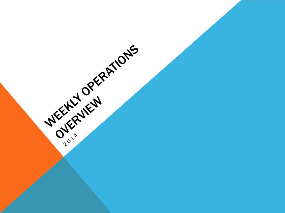 WEEKLY OPERATIONS OVERVIEW 2014