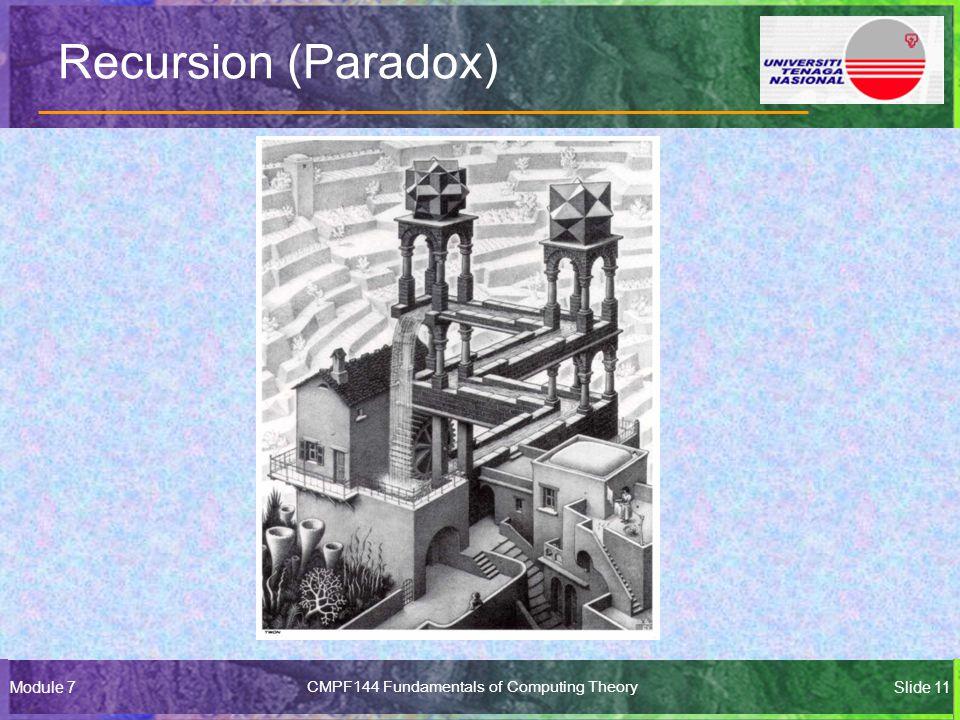 Module 7CMPF144 Fundamentals of Computing TheorySlide 11 Recursion (Paradox)