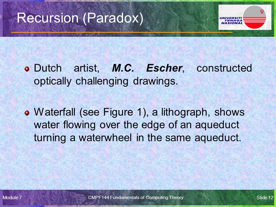 Module 7CMPF144 Fundamentals of Computing TheorySlide 12 Recursion (Paradox) Dutch artist, M.C.