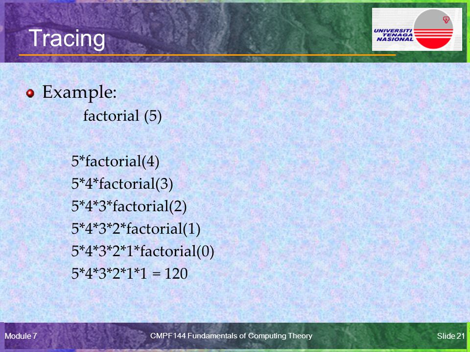 Module 7CMPF144 Fundamentals of Computing TheorySlide 21 Tracing Example: factorial (5) 5*factorial(4) 5*4*factorial(3) 5*4*3*factorial(2) 5*4*3*2*factorial(1) 5*4*3*2*1*factorial(0) 5*4*3*2*1*1 = 120