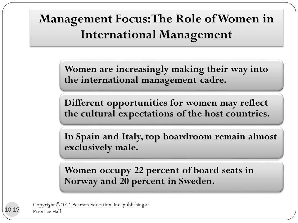 Management Focus: The Role of Women in International Management Women are increasingly making their way into the international management cadre.