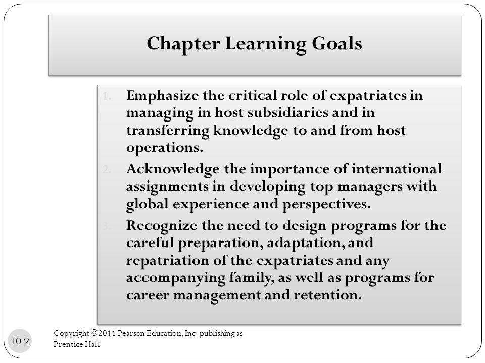 Chapter Learning Goals 1.