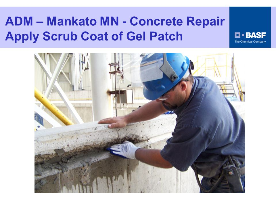 ADM – Mankato MN - Concrete Repair Apply First Lift of Gel Patch