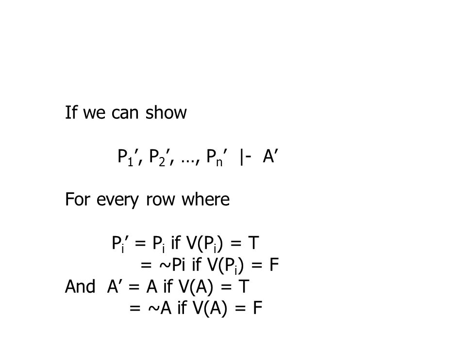 If we can show P 1 ', P 2 ', …, P n ' |- A' For every row where P i ' = P i if V(P i ) = T = ~Pi if V(P i ) = F And A' = A if V(A) = T = ~A if V(A) = F