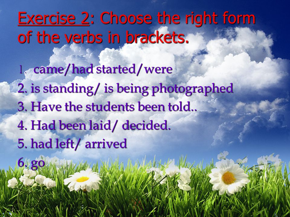 Exercise 2: Choose the right form of the verbs in brackets.