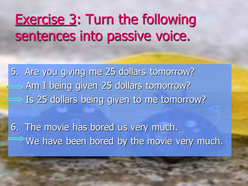 Exercise 3: Turn the following sentences into passive voice.