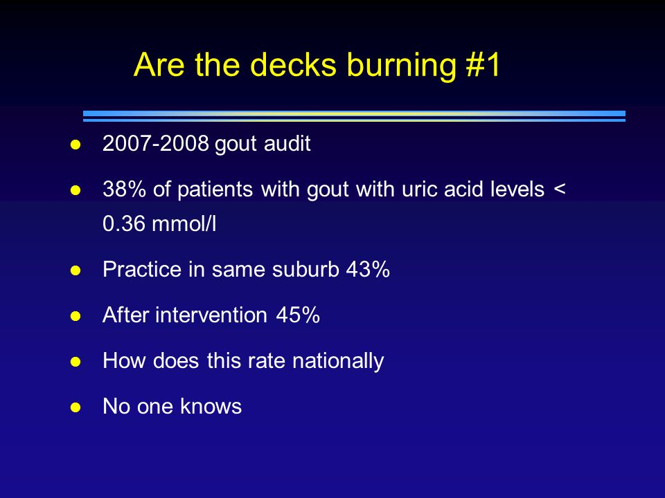 Are the decks burning #1 l 2007-2008 gout audit l 38% of patients with gout with uric acid levels < 0.36 mmol/l l Practice in same suburb 43% l After intervention 45% l How does this rate nationally l No one knows
