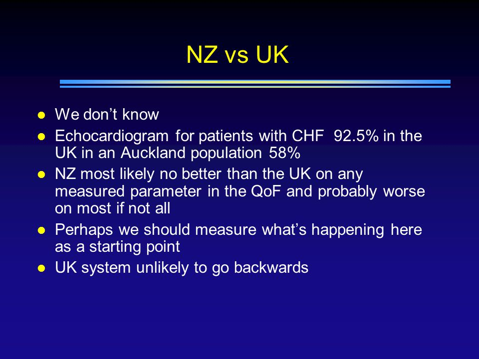 NZ vs UK l We don't know l Echocardiogram for patients with CHF 92.5% in the UK in an Auckland population 58% l NZ most likely no better than the UK on any measured parameter in the QoF and probably worse on most if not all l Perhaps we should measure what's happening here as a starting point l UK system unlikely to go backwards