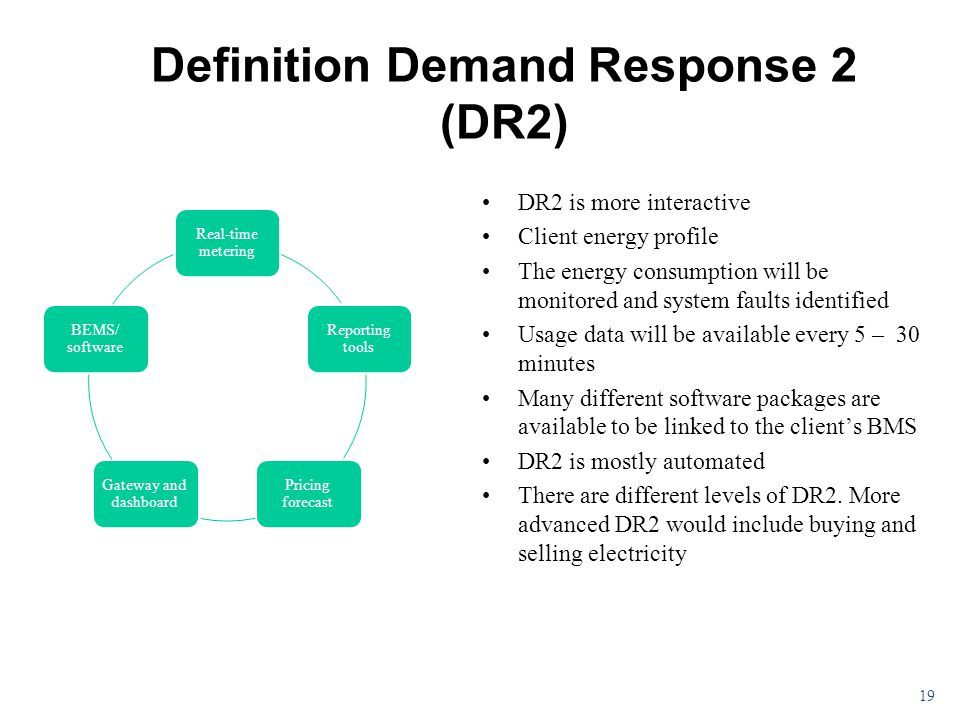Definition Demand Response 2 (DR2) DR2 is more interactive Client energy profile The energy consumption will be monitored and system faults identified Usage data will be available every 5 – 30 minutes Many different software packages are available to be linked to the client's BMS DR2 is mostly automated There are different levels of DR2.