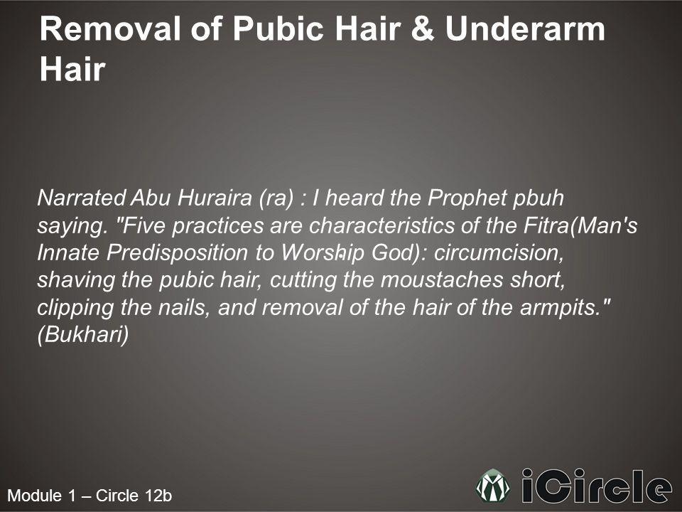 Removal of Pubic Hair & Underarm Hair Narrated Abu Huraira (ra) : I heard the Prophet pbuh saying.