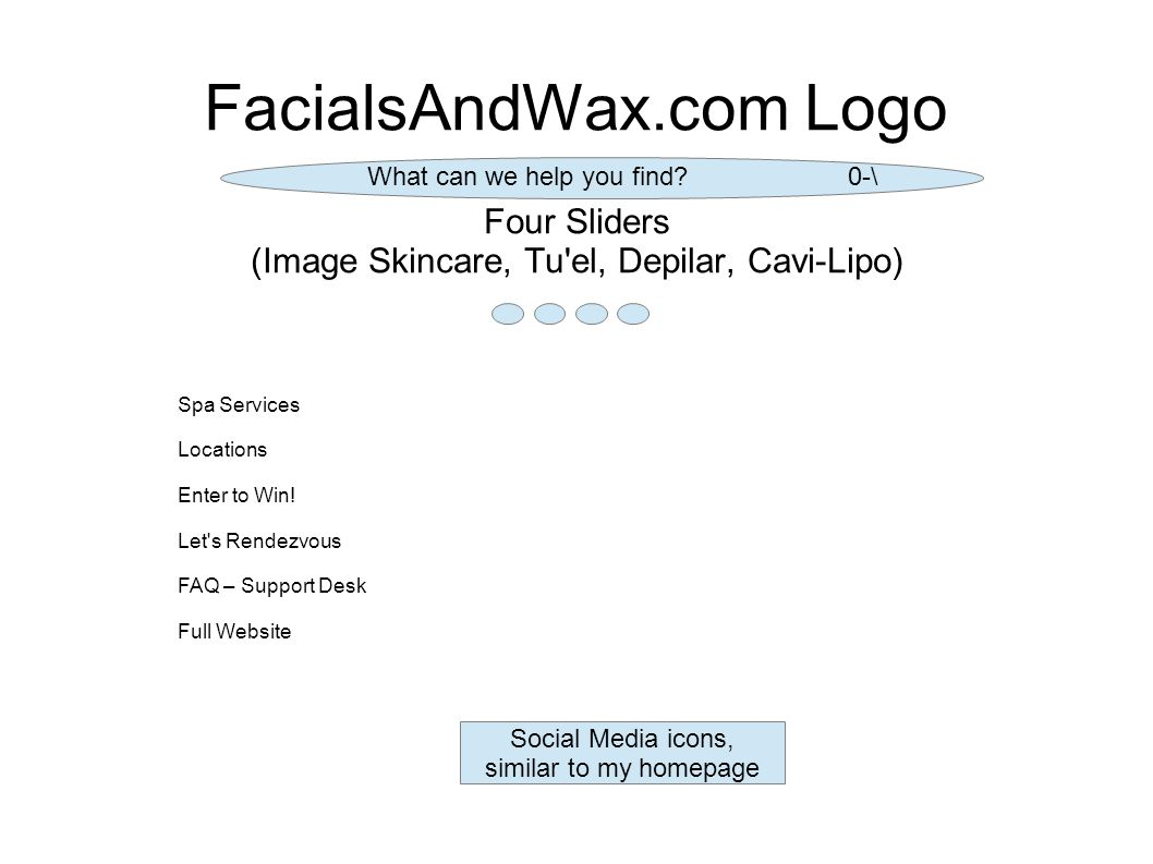 FacialsAndWax.com Logo Four Sliders (Image Skincare, Tu el, Depilar, Cavi-Lipo) Spa Services Locations Enter to Win.