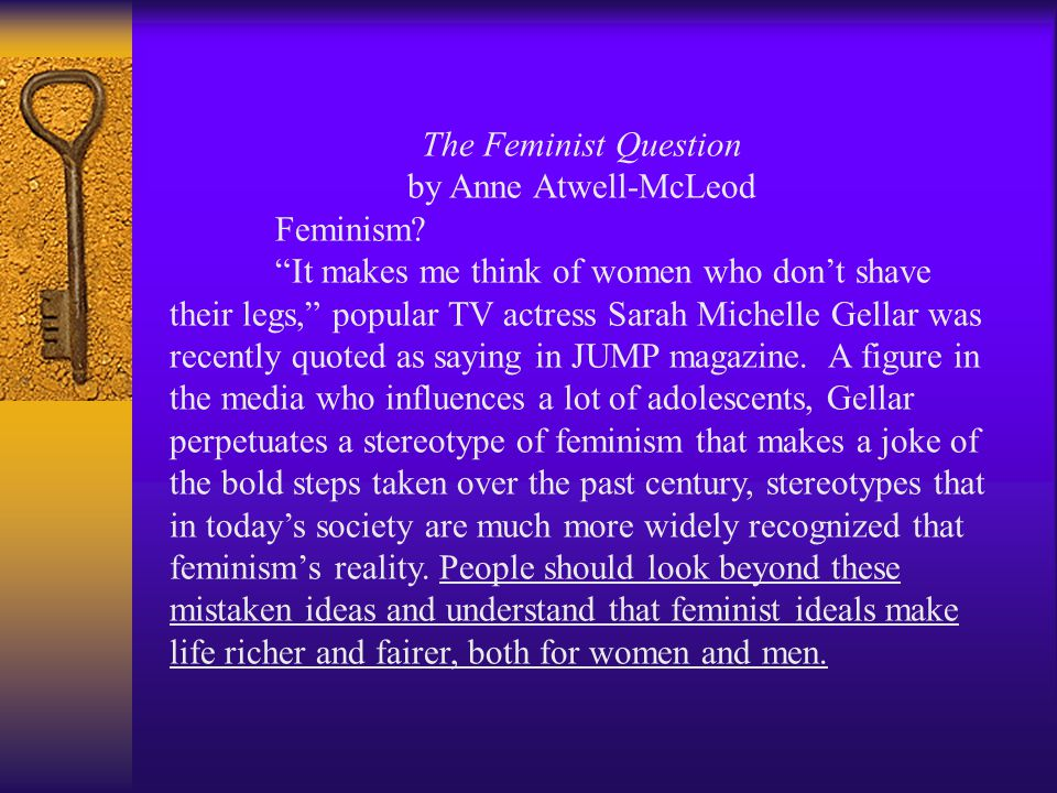 The Feminist Question by Anne Atwell-McLeod Feminism.