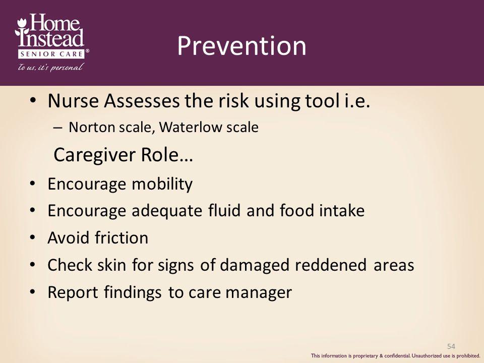 Prevention Nurse Assesses the risk using tool i.e.