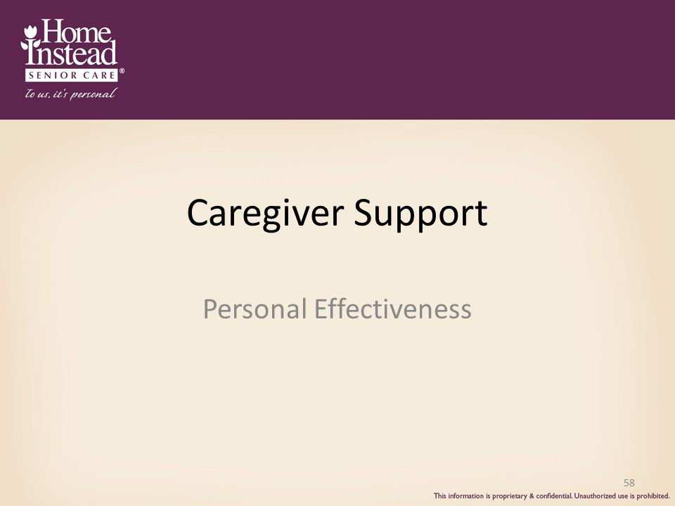 Caregiver Support Personal Effectiveness 58