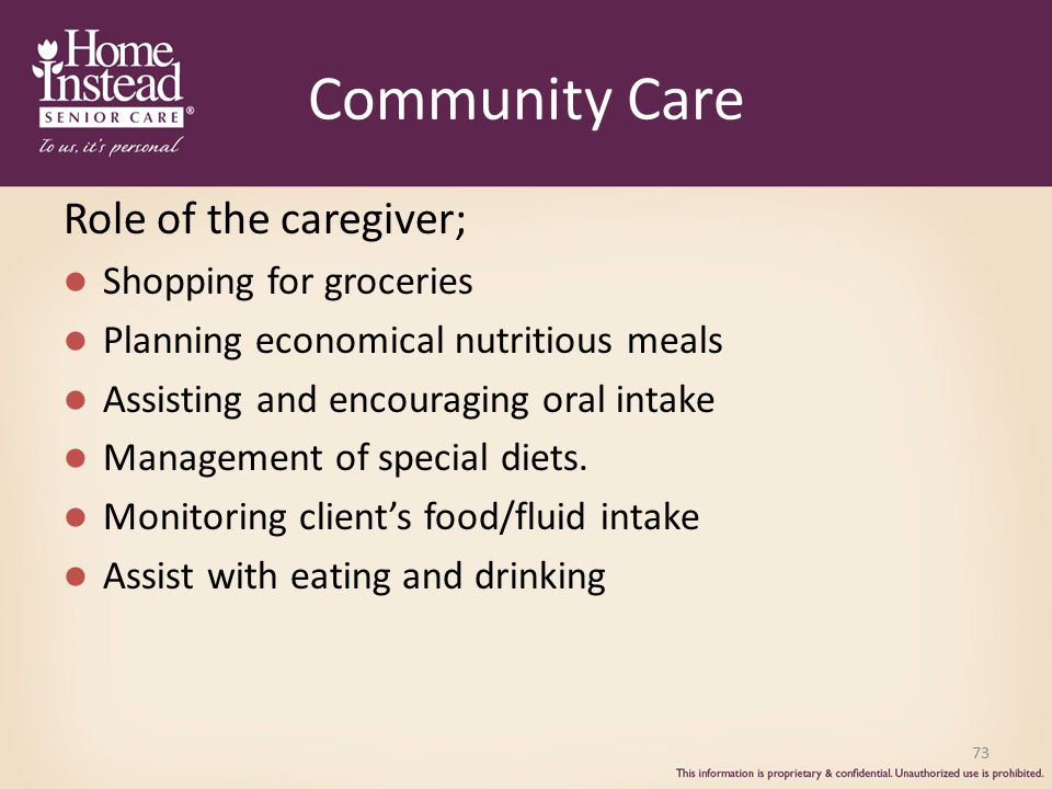 Community Care Role of the caregiver; Shopping for groceries Planning economical nutritious meals Assisting and encouraging oral intake Management of special diets.
