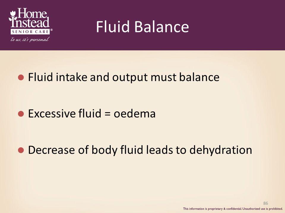 Fluid Balance Fluid intake and output must balance Excessive fluid = oedema Decrease of body fluid leads to dehydration 86