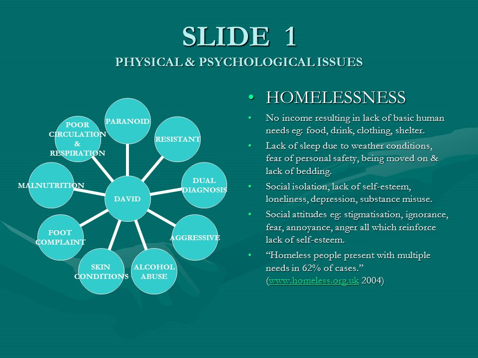 SLIDE 1 PHYSICAL & PSYCHOLOGICAL ISSUES HOMELESSNESS No income resulting in lack of basic human needs eg: food, drink, clothing, shelter.