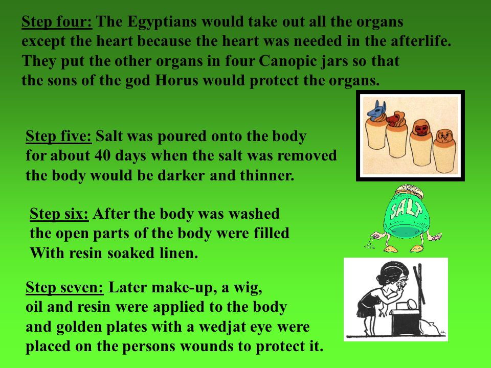 Step four: The Egyptians would take out all the organs except the heart because the heart was needed in the afterlife. They put the other organs in fo